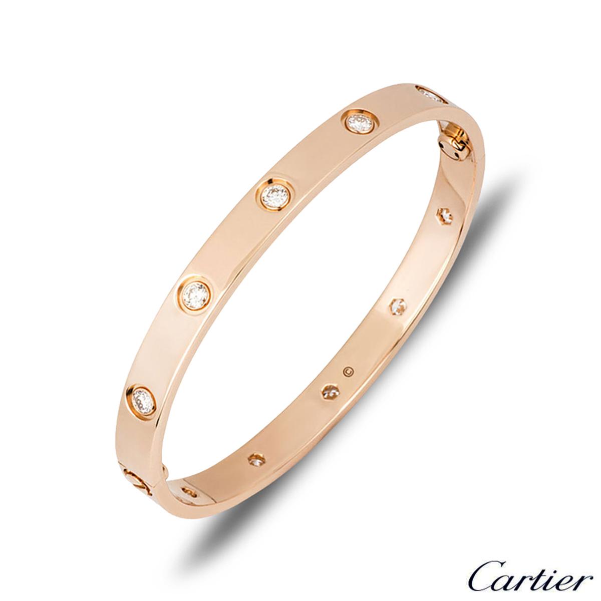 Cartier Rose Gold Full Diamond Love Bracelet Size 19 B6040619